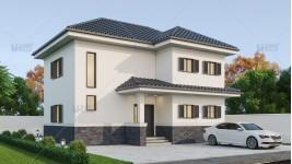 Proiect casa parter + etaj (120 mp) - Zenia
