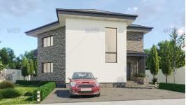 Proiect casa parter + etaj (160 mp) - Elana