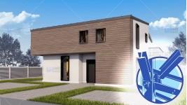 Constructie casa structura metalica parter + mansarda (176 mp) - Deezen