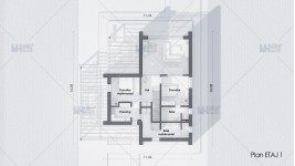 Proiect casa parter + etaj (150 mp) - Direna