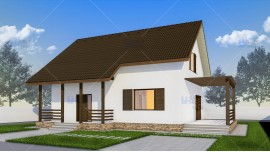 Proiect casa parter + mansarda (128 mp) - Alpina