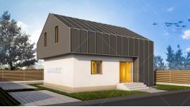 Proiect casa parter + mansarda (115 mp) - Compakt