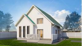 Proiect casa parter + mansarda (111 mp) - Muralis