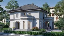 Proiect casa parter + etaj (220 mp) stil neoromanesc - Kalida