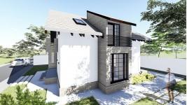 Proiect casa parter + mansarda (130 mp) - Aora